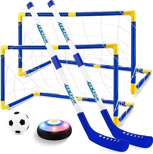 Fu/ßballtor Set Eishockeyball Mini Kinder Hockey Fu/ßballtor Sport Spielzeug Set F/ür Jahre Alte Kinder Jungen M/ädchen Hockeyspiel Kinderspielzeug Mit 2 Toren Und 2 Hockeysticks