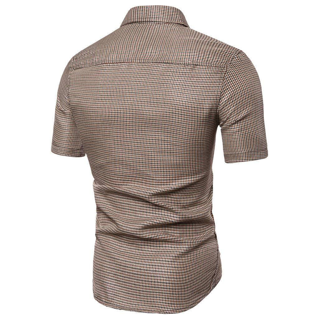 WeLoveFamily //Mens Lattice Splicing Pattern Casual Fashion Lapel Short Sleeve Shirt