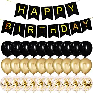 Black And Gold Happy Birthday Party Banner And Black And Gold Confetti Balloon for Birthday Party Decorations