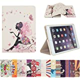 AnNengJing iPad mini 1/ 2/ 3 Case PU Leather Smart Cover Case with Auto-Sleep/ Wake Function Multi Colorful Painted Patterns for your choice (Butterfly Fairy)