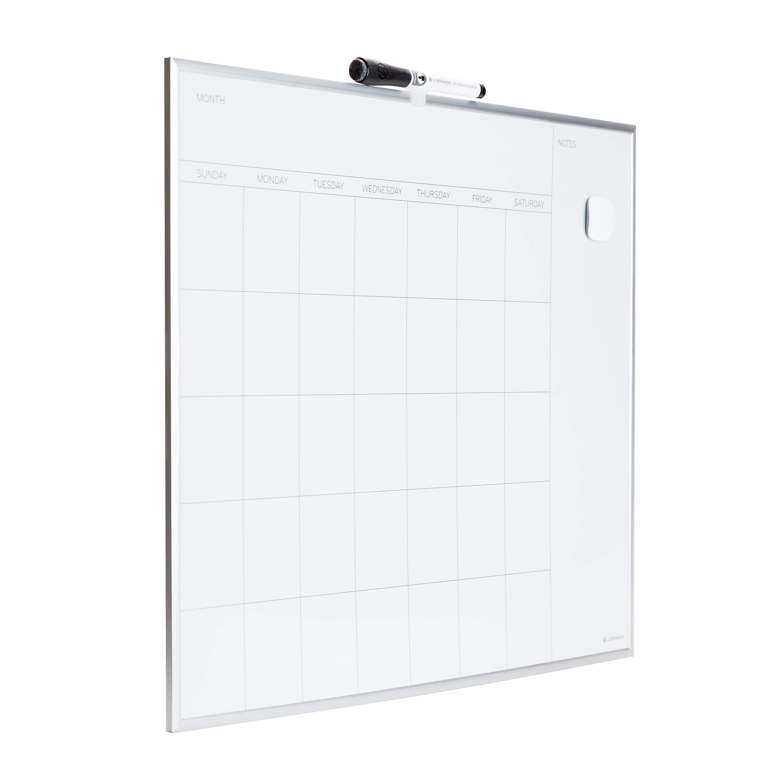 U Brands Magnetic Monthly Calendar Dry Erase Board, 20 x 16 Inches, Silver Aluminum Frame by U Brands (Image #2)