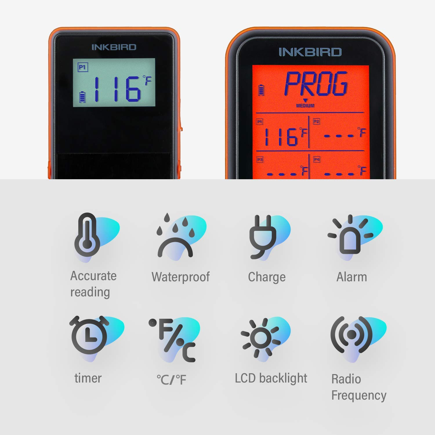 Inkbird IRF-4S 1500 Feet Waterproof Wireless BBQ Thermometer, 1000mAh Li-Battery and USB Charging Cable, Meat Grill Thermometers with Timer, Alarm for Cooking, Smoker, Barbecue (4 Probes) by Inkbird (Image #2)