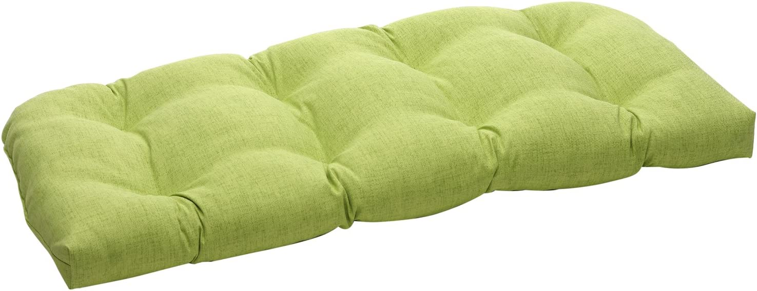 "Pillow Perfect 451725 Outdoor/Indoor Baja Linen Lime Tufted Loveseat Cushion, 44"" x 19"", Green"