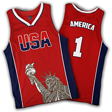 86f61c4b1d5 Amazon.com  Greater Half Red Basketball Jersey Custom America Jersey  1  (Small-XXL)  Clothing