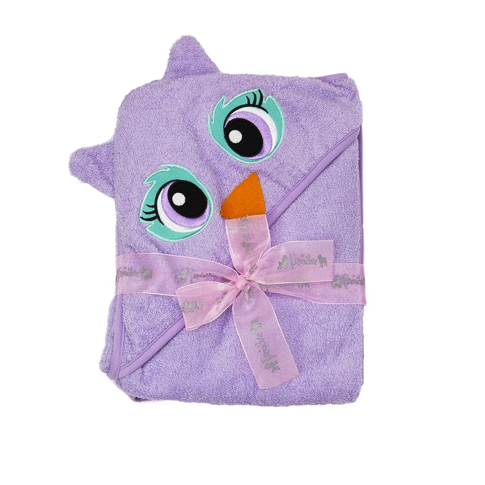 101X76 cm Extra Large Velour Hooded Towel Purpule Owl,