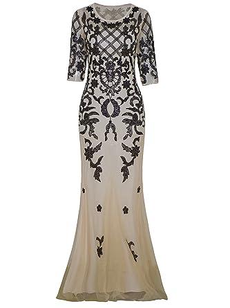 a8763fd2b Vijiv Vintage 1920s Long Wedding Prom Dresses 2 3 Sleeve Sequin ...