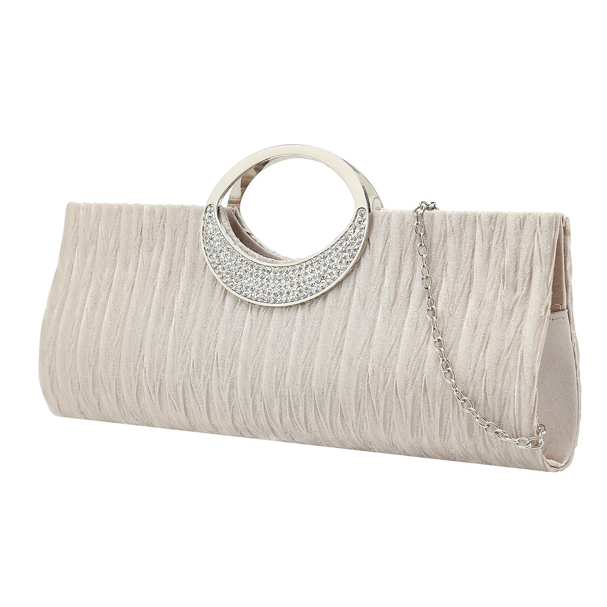 Charming Tailor Evening Purse Clutch Bag with Moon Handle Rhinestone Women Wedding Purses (Champagne)