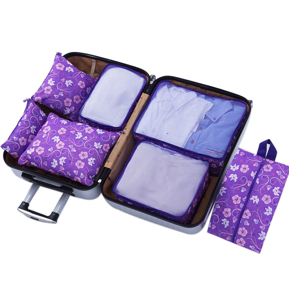 Belsmi 7 Set Packing Cubes With Shoe Bag - Compression Travel Luggage Organizer (Purple Flower) by Belsmi (Image #1)