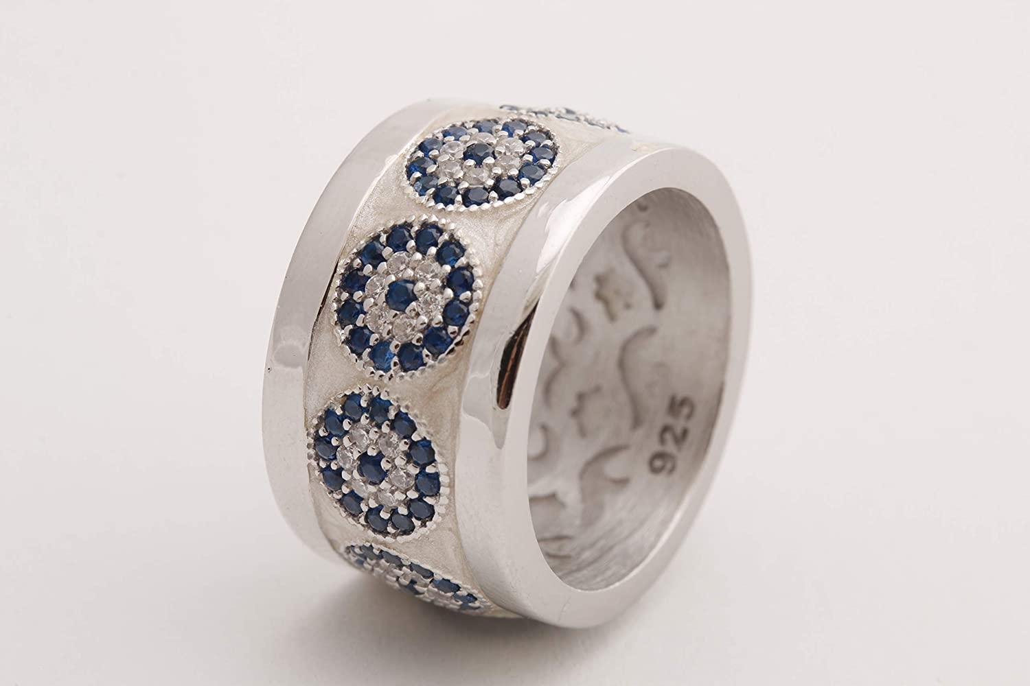 Nazar Turkish Handmade Jewelry White Enamel Evil Eye Sapphire Topaz Sterling Silver Ring With Multiple Size Options
