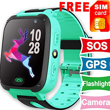 [SIM Card Included] Kids Smart Watch Phone GPS Tracker for Girls Boys, Kid Smartwatch SOS Anti-Lost Cellphone Game Camera Flashlight Child Outdoor ...