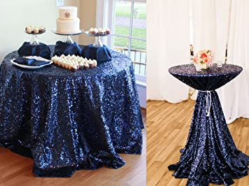 Good B COOL 72u0027u0027 Round Navy Sequin Tablecloth, Wedding Table Cloth, Sparkle