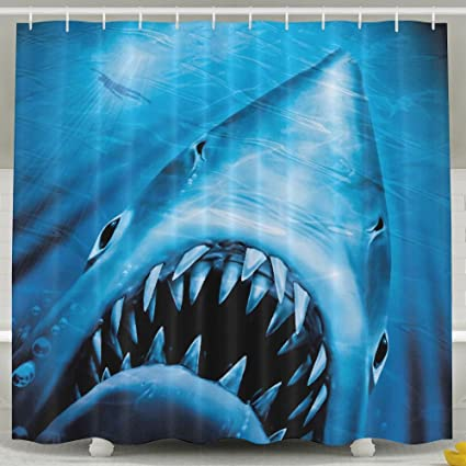 Jaws Of Ocean Shark Shower Curtain Repellent Fabric Mildew Resistant Machine Washable Bathroom Anti Bacterial