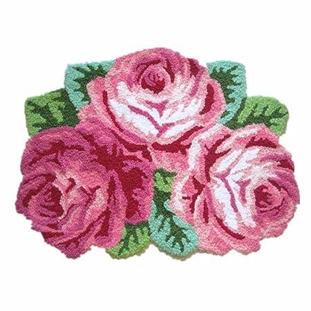 Ustide 3 Rose Shaped Rug Pink Roses Rug Handmade Rug Anti Slip Mat Bathroom  Rug
