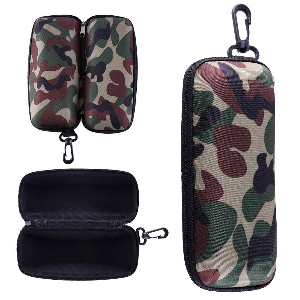Ownsig Portable Outdoor EVA Zipper Camouflage with Hook Clasp Eyeglasses Sunglasses Case Holder Box