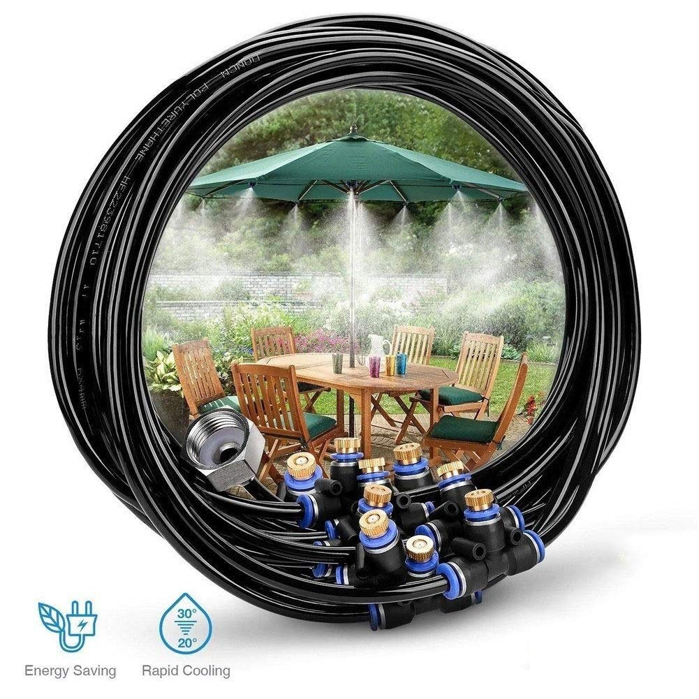 Mist Cooling System DIY Micro Drip Irrigation System Misting System Water Mister for Patio, Garden, Lawn, Flower, Outdoor, Greenhouse, Trampoline for Water Park, 75.5FT(23M) by GQQG