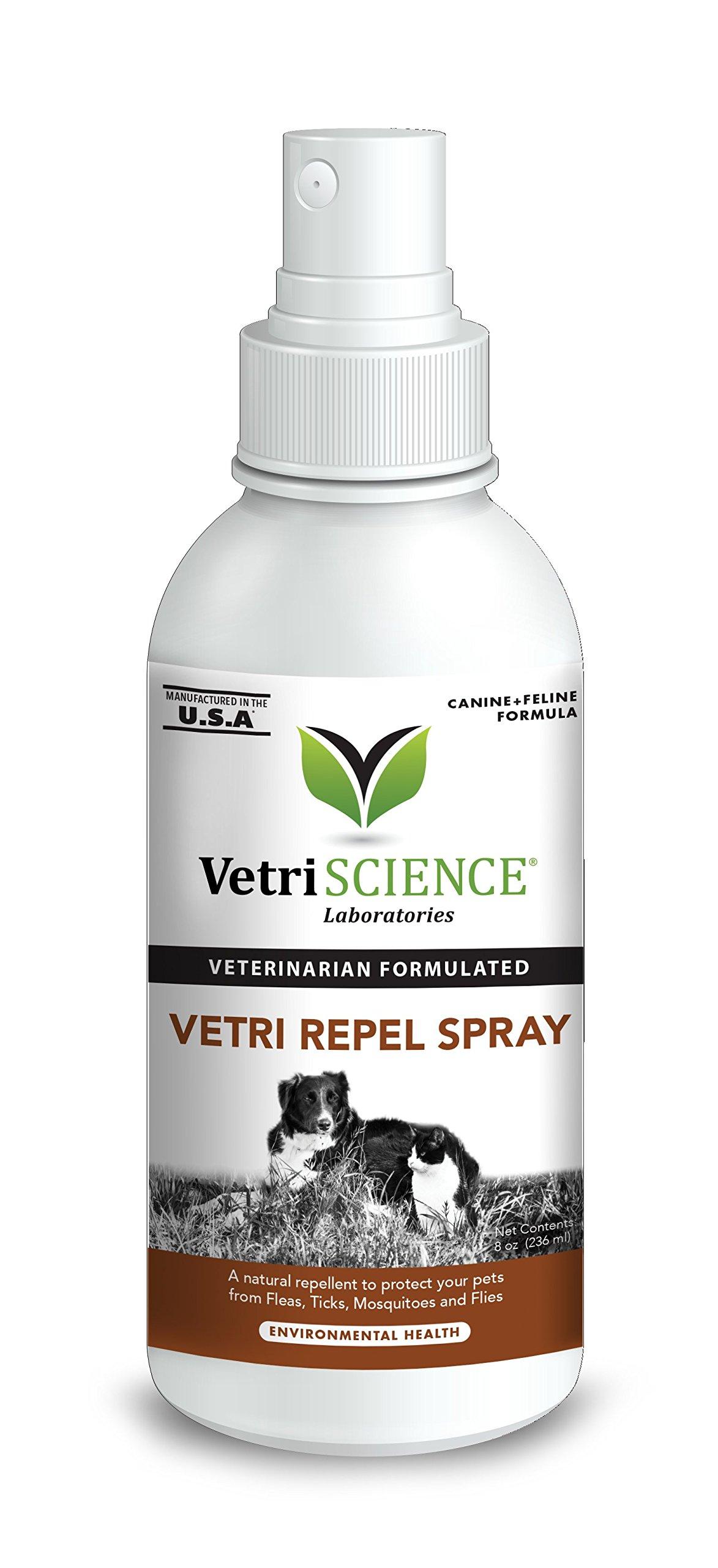 VetriScience Laboratories Vetri Repel Spray, Natural Flea and Tick Repellant for Cats and Dogs, 8oz Spray