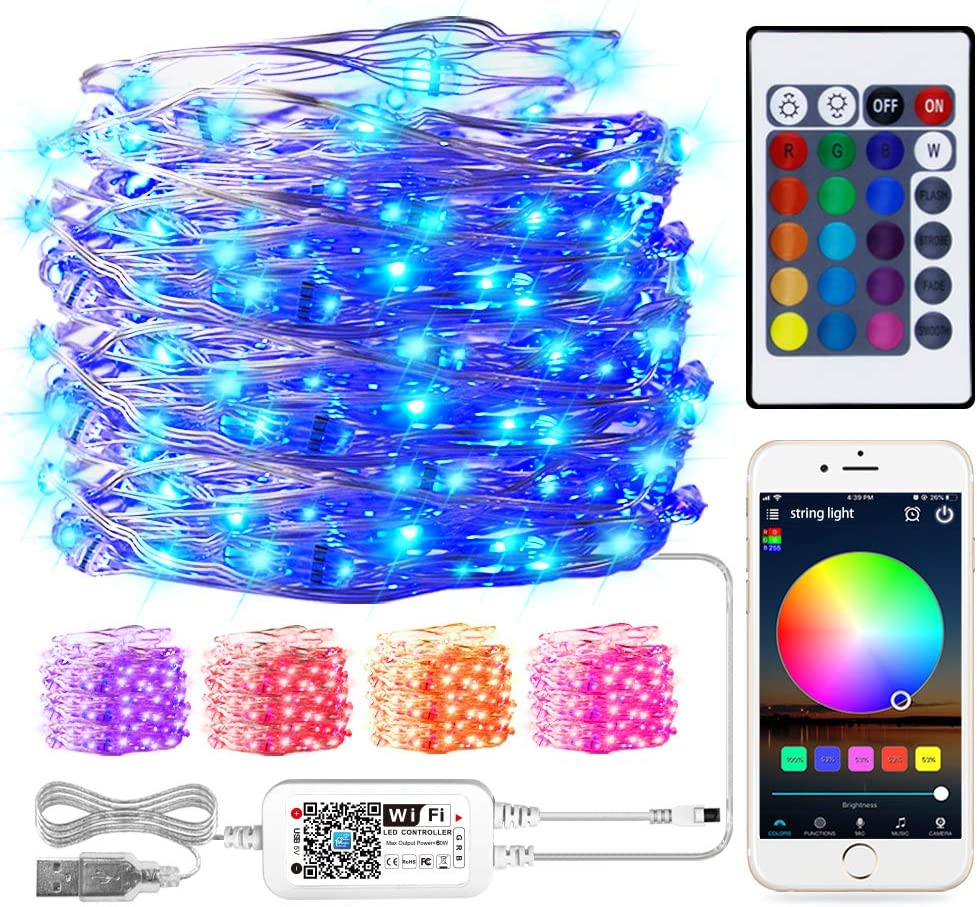 Smart WiFi RGB Fairy String Light, 32.8ft 100LED Indoor/Outdoor Waterproof USB Charge Color Changing Music Copper Wire String Lights Works with Alexa Google Assistant Siri IFTTT