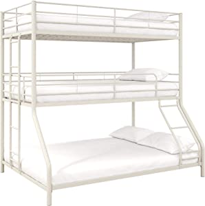 Max & Finn Altona Metal Triple Bunk Bed, Bed for Kids, Twin/Twin/Full, White