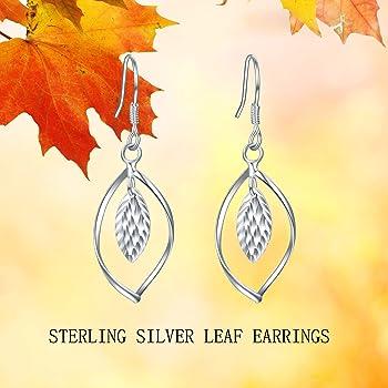 925 Sterling Silver Filigree Leaf Earrings Teardrop Dangle Hypoallergenic White Gold Plated Hook Jewelry Gift for Women Girls