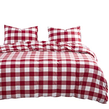 Wake In Cloud - Red White Plaid Duvet Cover Set, 100% Washed Cotton Bedding, Buffalo Check Gingham Geometric Checker Pattern, Zipper Closure (3pcs, King Size)