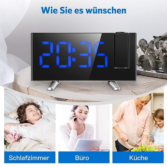 Despertador Digital con conexi/ón LED COULAX Temporizador de 12//24 Horas proyector de 180/° y conexi/ón USB Despertador con proyecci/ón de Radio FM Pantalla Regulable con 2 alarmas