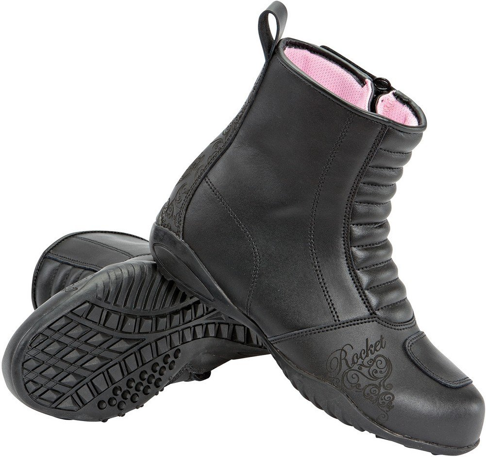 Joe Rocket Trixie - Womens Leather Motorcycle Boot - Black - 7