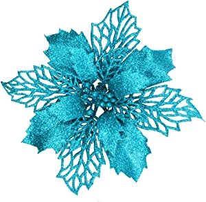 24 Pcs Christmas Teal Blue Glittered Mesh Holly Leaf Artificial Poinsettia Flowers Picks Tree Ornaments 5.9