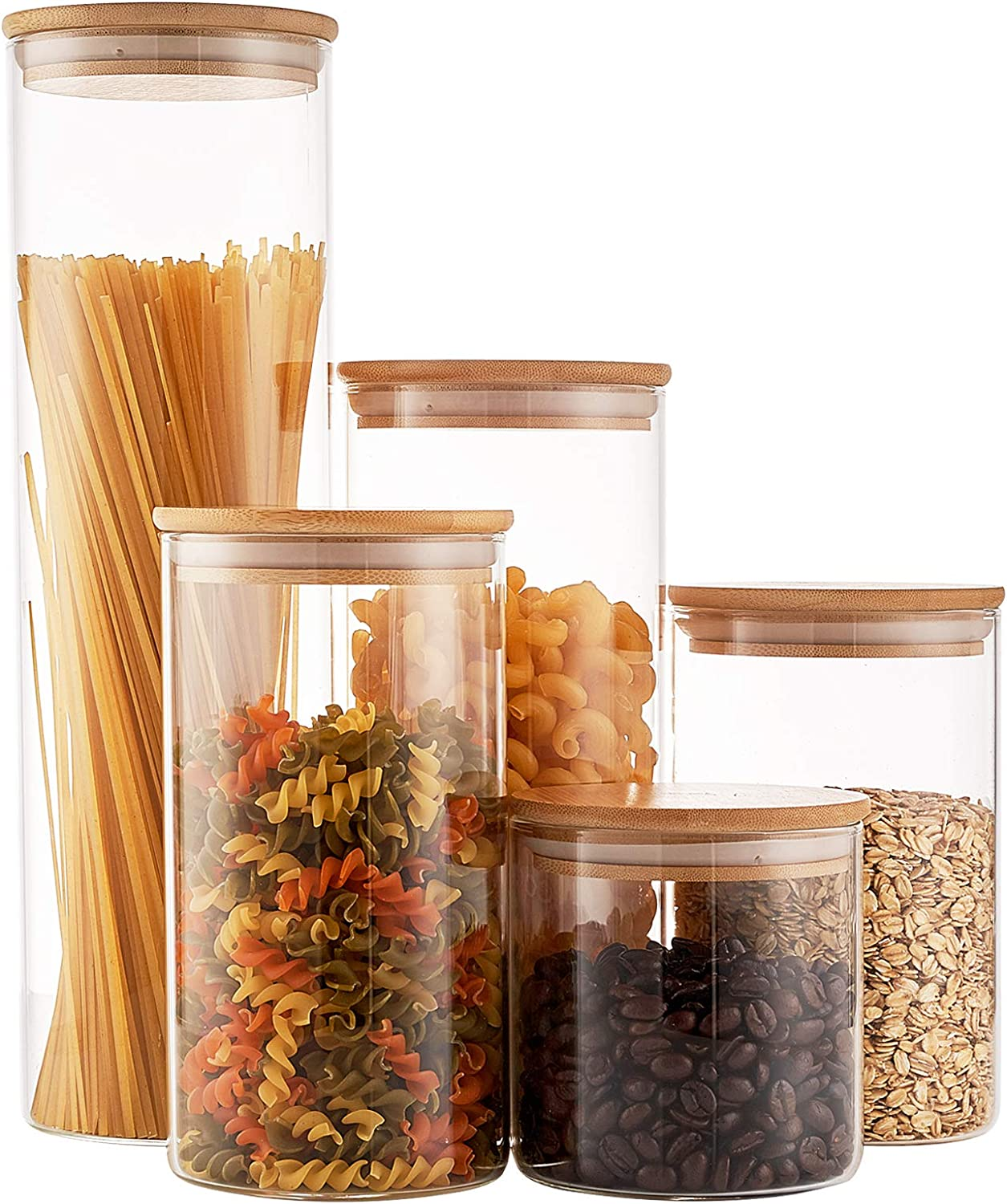 Glass Food Storage Jars Containers, Glass Storage Jar with Airtight Bamboo Lids Set of 5 Kitchen Glass Canisters For Coffee, Flour, Sugar, Candy, Cookie, Spice and More