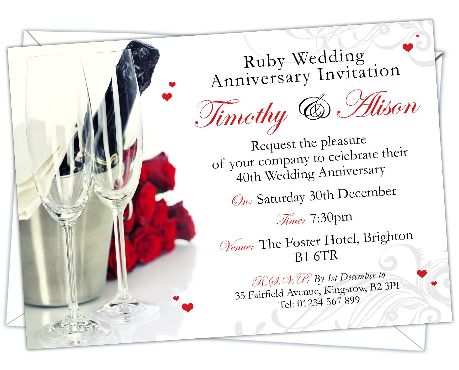 Personalised Ruby Wedding 40th Anniversary Invitations Design Code Rwa 024 Pack Of 52
