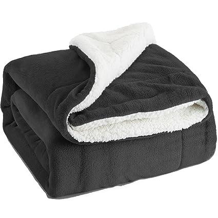 amazon com bedsure sherpa fleece blanket queen size dark grey plush
