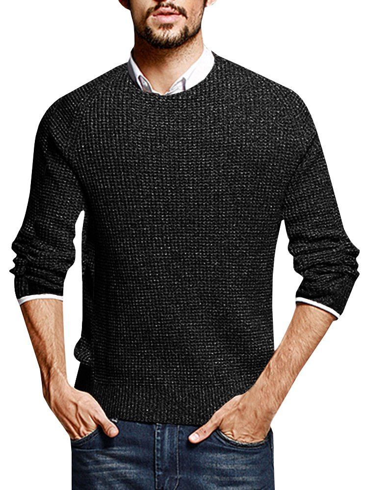 Puwany Mens Casual Pullover Sweater Long Sleeve Knitted Crew Neck Solid Pullover by Puwany (Image #1)