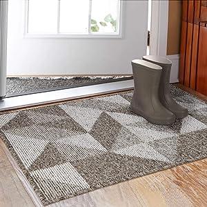 """Indoor Doormat 32""""x 48"""", Absorbent Front Back Door Mat Floor Mats, Rubber Backing Non Slip Door Mats Inside Mud Dirt Trapper Entrance Front Door Rug Carpet, Machine Washable Low Profile-Brown Geome"""