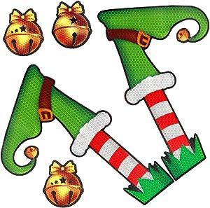 Coogam Christmas Car Magnets – Elf Legs Reflective Magnetic Decoration Decal for Car Fridge Refrigerator Garage Mailbox Vehicle Truck Xmas Holiday Décor (5 PCS)