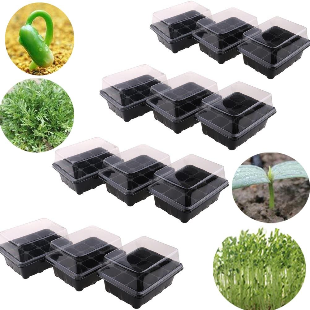WWahuayuan Seedling Starter Trays Seed Starter Peat Pots Plant Flower Grow Starting Germination Kit Seeds Grow Box Case with Humidity Dome and Base,144 Cells,12 Trays,12-Cell Per Tray by