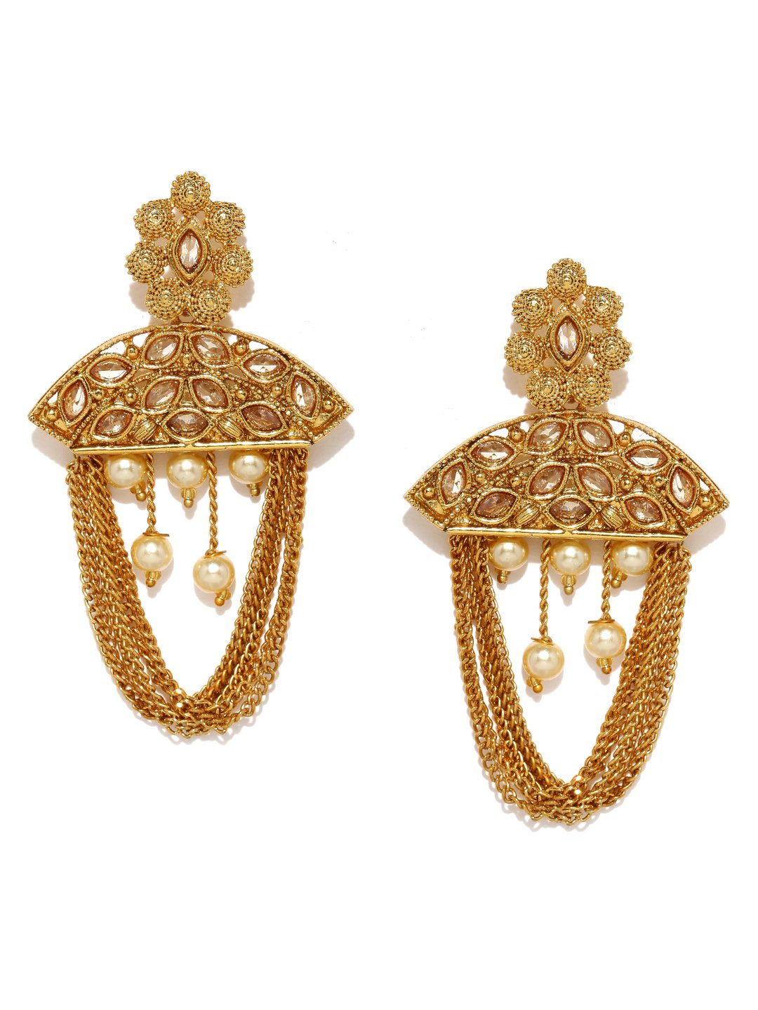 Rubans Gold Plated Traditional Indian Jewelry Bollywood Ethnic Wedding Bridal Kundan and Pearls Chandbali Earrings for Women