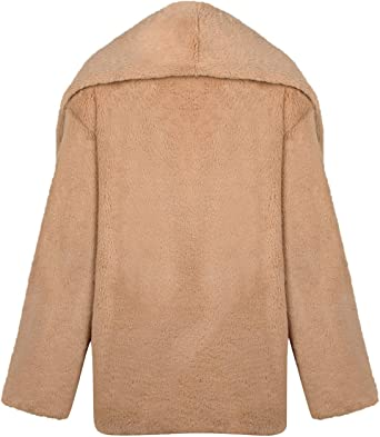 CixNy płaszcz damski zima ciepły Outerwear długi rękaw torebka pluszowa luźna kurtka Revers futro jednokolorowa długa parka: Odzież