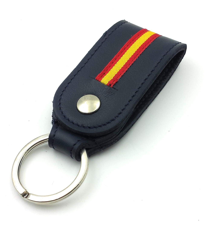 FJR-ArtPiel - Llavero en Piel Ubrique para cinturón con bandera de ...