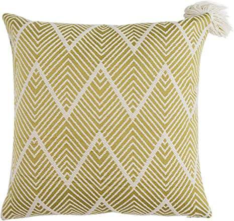 Fennco Styles Contemporary Chevron Tassel Cotton Blend Throw Pillow Square 18 X 18 Inch Decorative Throw Pillow Case Chevron Pillow For Couch Bedroom And Living Room Décor Home Kitchen