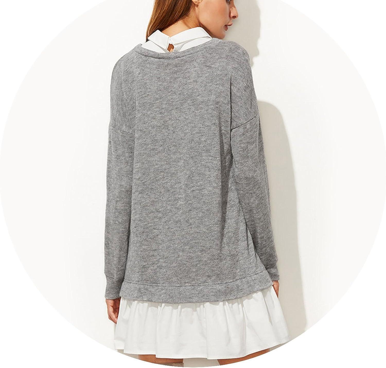Contrast Collar and Hem 2 in 1 Sweatshirt Dress Color Block Long Sleeve Autumn Dresses for Women