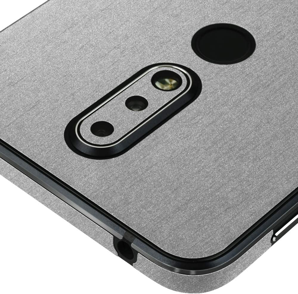 Skinomi Brushed Aluminum Full Body Skin Compatible with Nokia 7.1 TechSkin with Anti-Bubble Clear Film Screen Protector Full Coverage