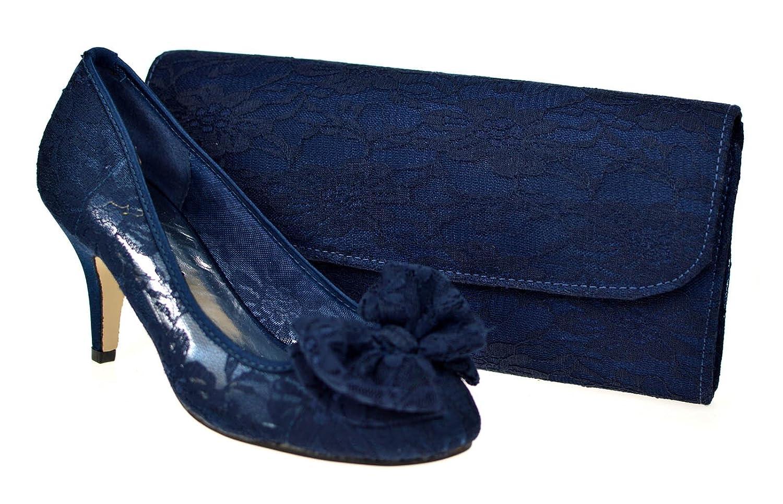 5c3b7d5b9e8 Chic Feet Ladies New Navy Blue Lace Wedding Bridal Evening Mid Kitten Heel  Court Shoes   Bag  Amazon.co.uk  Shoes   Bags