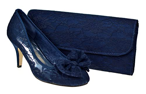 bf2708405326 Chic Feet Ladies New Navy Blue Lace Wedding Bridal Evening Mid Kitten Heel  Court Shoes