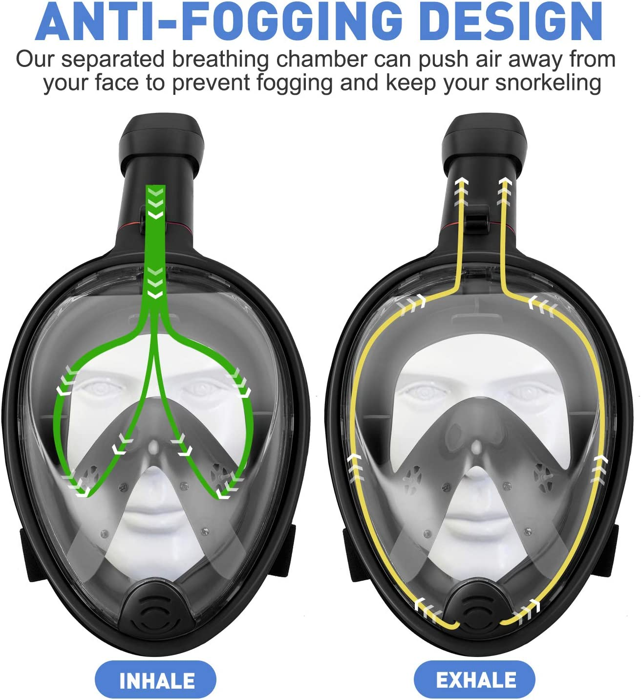 Foldable Snorkeling Mask with Detachable Camera Mount Gpeng Full Face Snorkel Mask 180 ℃ Panoramic View Diving Mask Dry Top Set Anti-Fog Anti-Leak for Adults and Kid