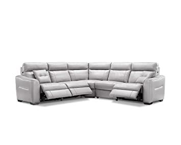 creative furniture trevor sectional with power recliners gray