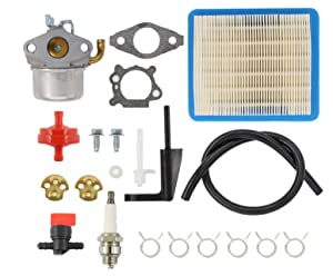 Carburetor Air Filter Spark Plug Fuel Hose Shut Off Valve Carb For Briggs & Stratton Craftsman Tiller Intek 190 6 HP 206 5.5hp Engine Motor 6.5 HP Intek Power Washer Go Kart Generator 791077 696981