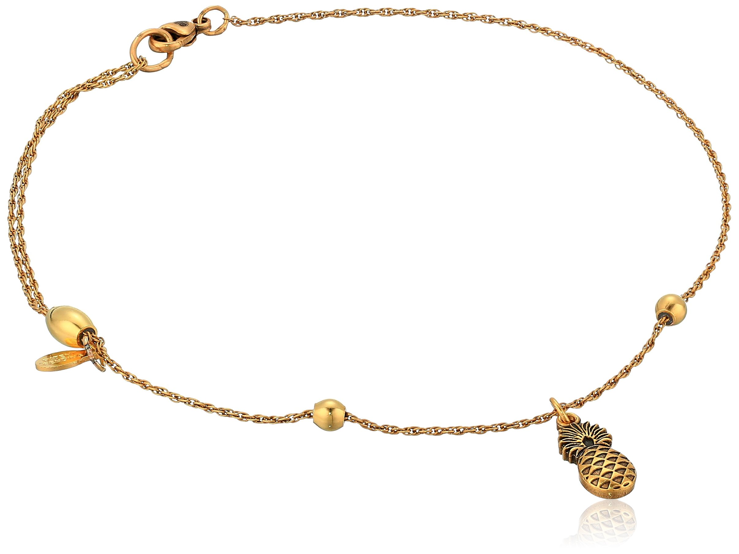 Alex and Ani Womens Pineapple Anklet, Rafaelian Gold, Expandable