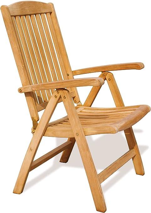Silla plegable reclinable Garden - teca sostenible de jardín silla reclinable - jardín Brand, calidad y valor: Amazon.es: Jardín