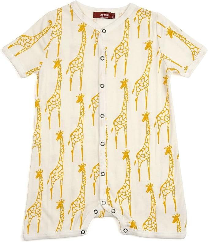 MilkBarn Organic Cotton Baby Leggings Yellow Giraffe 12-18 Months