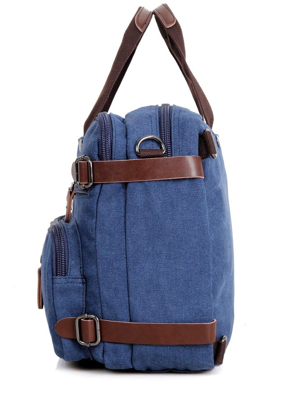 Clean Vintage Laptop Bag Hybrid Backpack Messenger Bag/Convertible Briefcase Backpack Satchel for Men Women- BookBag Rucksack Daypack-Waxed Canvas Leather, Blue by Clean Vintage (Image #1)