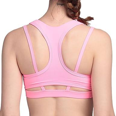 aiyihan Racerback Yoga - Sujetador deportivo staker sujeción Bust elástico sujetador acolchado, mujer, Rosa neu, small: Amazon.es: Deportes y aire libre
